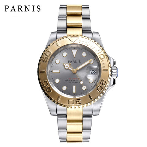 Parnis 40mm silver case Watch Man Rotating Automatic Watch Folding Clasp Bracelt Calendar 2019 man gift clock top luxury brand