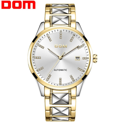 DOM Men Automatic Mechanical Watch Gold Color Vintage Watch Mens 30M Waterproof Watch Top Brand Luxury  Men Clock M-1278DG-7M
