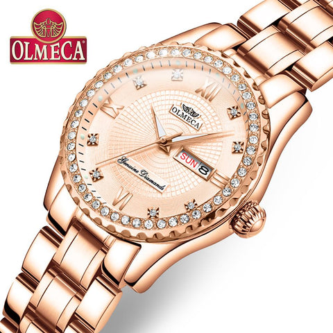 OLMECA Women Watches Luxury Elegant Rose Gold Dial Diamonds   Fashion Casual Quartz Dress Wristwatches Lady Gift