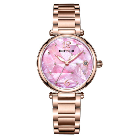 Reef Tiger/ RT Pink Dial Rose Gold Luxury Fashion Diamond Women Watches Stainless Steel Bracelet Mechanical Watch RGA1584