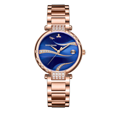 Reef Tiger/RT 2019 Women Watch Luxury Blue Dial Automatic Self-Winding Rose Gold Case Stainless Bracelet RGA1589