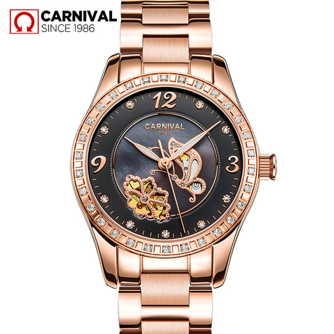 CARNIVAL Rose Gold Stainless steel Watches Women Top Waterproof Brand 2019 Luxury Casual Fashion Women's Clocks Relogio Feminino