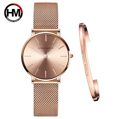 Japan Quartz Movement Creative Design Waterproof Rose Gold Stainless Steel Mesh 1 set Bracelet Ladies watches relogio feminino