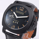 44mm Automatic Mechanical Watch Men Power Reserve GMT Leather Strap Luminous Military Waterproof Calendar Men Watch