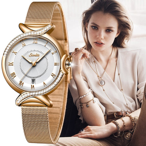SUNKTA 2020 Listing Rose Gold Women Watches Quartz Watch Ladies Top Brand Luxury Female Watch Girl Clock Relogio Feminino+Box