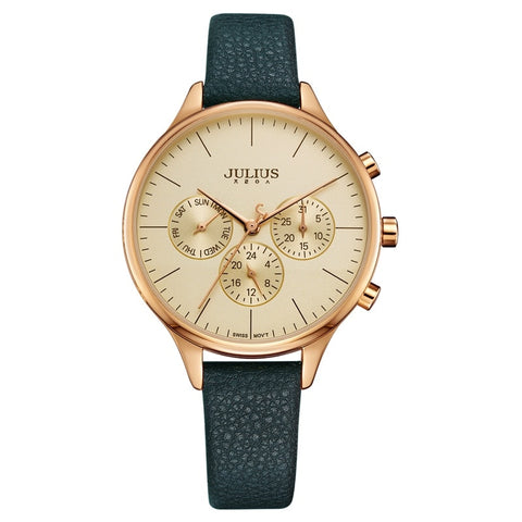JULIUS Women's Luxury Watch Chronograph Week Dates Stopwatch Silver Rose Gold Leather Business Watch Watch JA-952