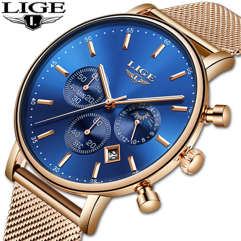Women Watch Top Brand LIGE Luxury Business Quartz Wristwatch All Steel Strap Waterproof Sport Watches Chronograph Montre Homme