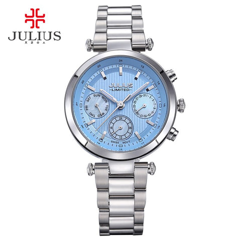 2017 Julius watch ladies stainless steel chronograph 3 dial limited edition silver quartz high quality top brand watch JAL-029