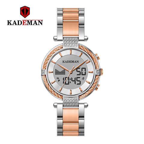 KADEMAN Top Brand  Luxury Ladies Watch Analog Digital Display Waterproof Steel Strap Quartz Women Watches Clock Reloj Mujer