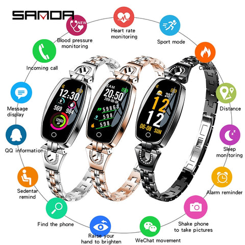 SANDA Women Fashion Smart Bracelet Watch Bluetooth Blood Pressure Heart Rate Sleep Monitor Pedometer Smartwatch for Android iOS