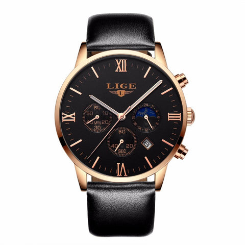 2019 LIGE Men's Watch Fashion Casual Quartz Watch Men's Sports Chronograph Men's Leather Watch Business Watch Relogio Masculino