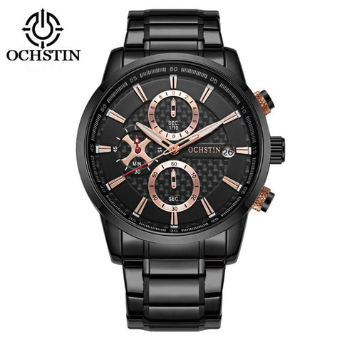 OCHSTIN Men's Sports Watches Waterproof Fashion Wristwatch Chronograph Male Quartz Clock New Stainless Steel Relogio Masculino