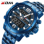 KDM Mens Watch Waterproof Multifunction Stainless Steel Analog Digital LED Watches Quartz Sports Wristwatches
