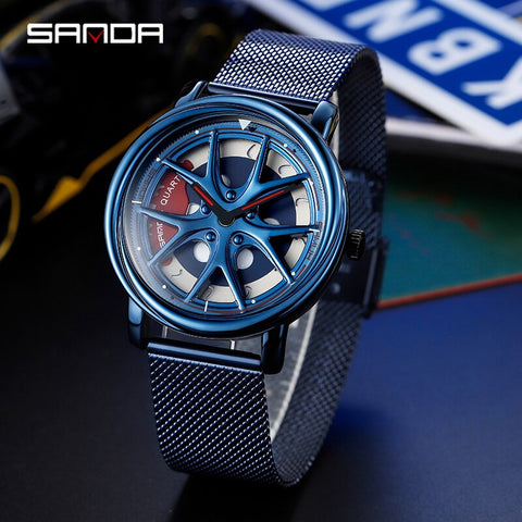 Men's Casual Sports Watch Top Brand Luxury Rotating Design Watch Men's Clock Wheel Shape Quartz Mesh Men's Quartz Watch