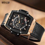 New Baogela Men's Sports Leather Strap Chronograph Quartz Watches Fashion Army Rectangle Analogue Wristwatch for Man