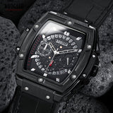 New BAOGELA Men's Sports Chronograph Quartz Watches Fashion Leather Strap 24-hour Display Army Wristwatch for Man 1703Black