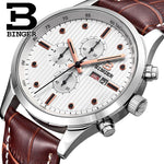 Brand Stylish Sports Boy Students Watches Chronograph Multi Functional Week Calendar Watch Quartz 6 hands Analog Leather Montre