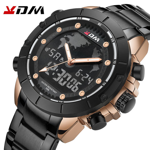 KDM Mens Waterproof Sports Digital Leather Band Wrist Watch Multi-Function Display Backlight Military Watches