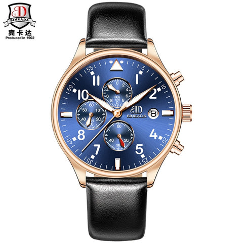 2017 relogio masculino BINKADA Luxury Brand Analog sports Wristwatch Display Date Men's Fashion Casual Quartz Watch Men Clock