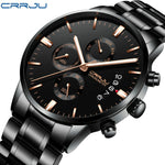 CRRJU Fashion Sports Stainless Steel Watch Men's Quartz Mesh Clock Casual Chronograph Business Wristwatch With Week and Date