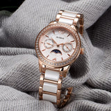 Top Brand Luxury Gold Women Watch Ceramics Stainless Steel Gold Wristwatch Rhinestone 2 Eyes Quartz Movement Waterproof Clock