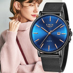 LIGE Women Watches Top Brand Luxury Simple Fashion Watch Ladies Stainless Steel Waterproof Mesh With Clock Quartz Wristwatch+Box
