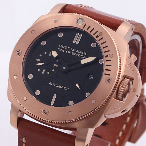 47mm GMT Watch Men Automatic Mechanical Movement Stainless Steel Leather Strap Luminous Waterproof Luxury Military Men Watch