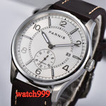 42mm Parnis white dial perspective back cover Luminous automatic men's watch stainless steel waterproof mechanical watch