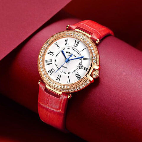 2020 New Rose Gold Crystal Case Luxury Women Watches Red Leather Watch womens quartz dress wristwatch feminino reloj mujer kol