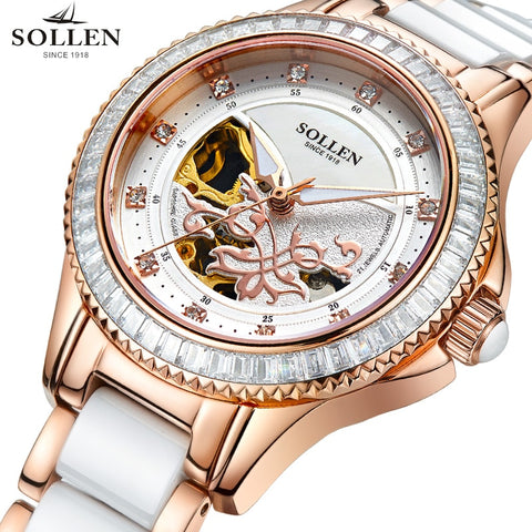 2017 Luxury Brand SOLLEN Fashion Ladies Watch Rose Gold Automatic Mechanical Watches Multifunction Waterproof Clock Reloje Mujer