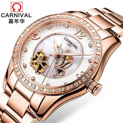 Switzerland Carnival Luxury Brand Watch Women Automatic Mechanical Ladies Watches Rose Gold Steel Strap Hollow Luminous Clock