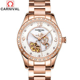 CARNIVAL Women Mechanical Watches Ladies Waterproof Crystal Sapphire Automatic Wrist Watch Clock Rose Gold Saat Relogio Feminino