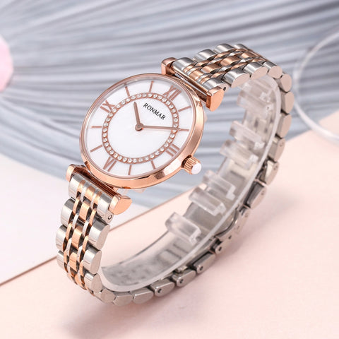 Fashionable Design Japan Movt Quartz Stainless Steel Band Modern Lady Stainless Steel Bracelet Rose Gold Wrist Watch Women