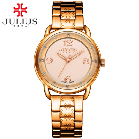 JULIUS fashion watch ladies watch top brand luxury with logo stainless steel rose gold silver classic business watch JA-936