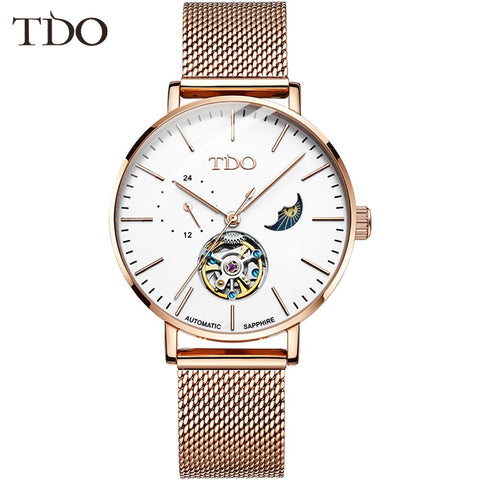 Brand Fashion Luxury Women's Watch Bracelet Automatic Mechanical Watch Mesh Belt Rose Gold Hollow Moon Phase Ladies Wristwatch