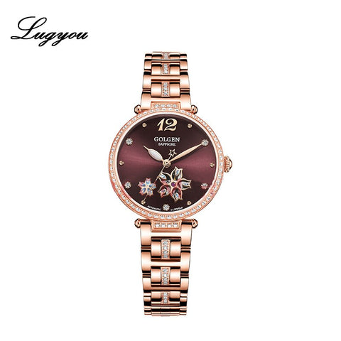 Golgen Luxury Women Fashion Watch Mechanical Waterproof Skeleton Diamonds Lady Wristwatch Metal Band Rose gold Lucky Star New