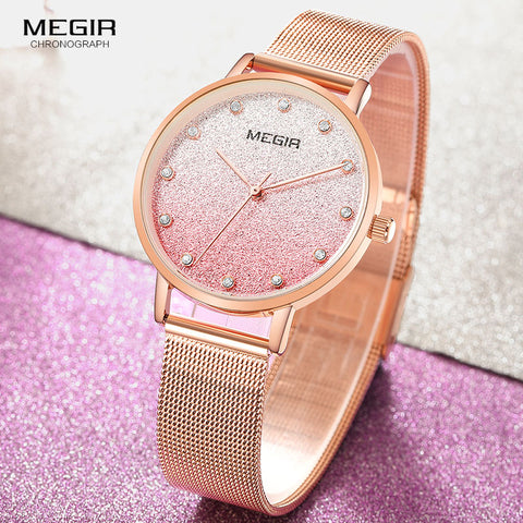 MEGIR Top Luxury Brand Mesh Steel With Quartz Watch Rose Gold Simple Fashion Waterproof Sports Ultra-thin Ladies Watch 4215 Pink