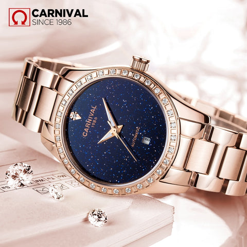 CARNIVAL Women's Luxury Automatic Mechanical Watches Women Hollow Stars Dial Crystal Watch Ladies Rose Gold Steel Wristwatches