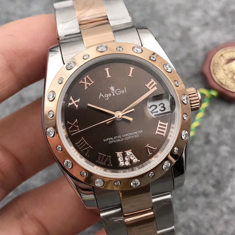 Luxury Brand New Women Datejust Stainless Steel Automatic Mechanical Sapphire Rose Gold Coffee Rome Embed Diamond Watches 31mm