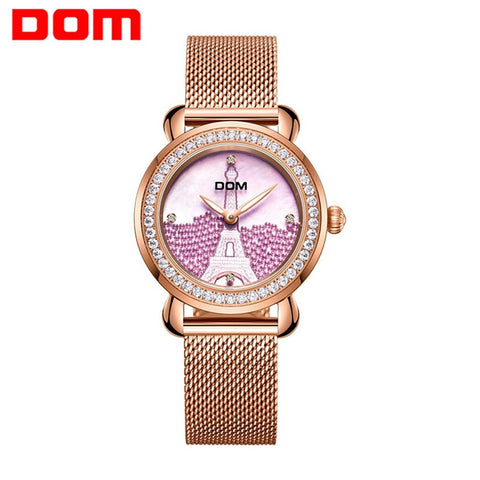 DOM Luxury Brand Women Watch Rose Gold Steel Quartz Ladies Watches Rhinestone Sapphire Crystal Dress Relogio Faminino G-613G-6M