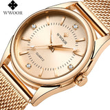 Women Watches 2019 Dress Rose Gold Wristwatch Ladies Crystal Diamond Stainless Steel Clock Women Montre Femme GIFT
