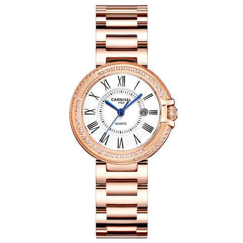 Carnival Rose Gold Women Watches Luxury Diamond Ladies Quartz Watch Fashion Wrist Watch montre femme