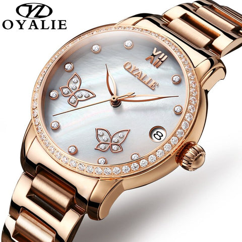 2019 New Rose Gold Luxury Women Mechanical Watches Automatic Day Stainless Steel Band Ladies Watch Female Clock For Wife Gift