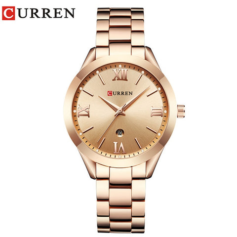 Jewelry Gifts For Women'S Luxury Gold Steel Quartz Watch Curren Women Watches Fashion Ladies Clock Relogio Feminino 9007