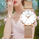 2019 CIVO Fashion Women Gold Watch Luxury Diamond Bracelet WristWatches Steel Band Waterproof Beauty Dress Watch Relojes Mujer