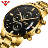 Nibosi Men Watch Chronograph Sport Mens Watches Top Luxury Waterproof Full Steel Quartz Gold Men Relogio Masculino