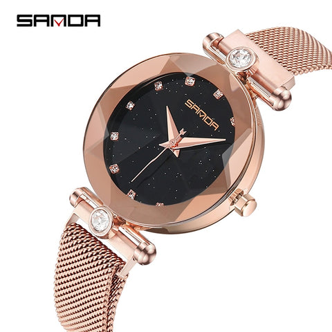 2020 Luxury Brand lady Crystal Watch Women Dress Watch Fashion Rose Gold Quartz Watches Female Stainless Steel Wristwatches P256