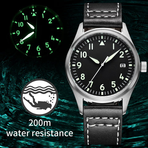 Japan NH35 Pilot Watch Automatic Mechanical Diver Watch C3 Super Luminous men's watches Sapphire Crystal 200m dive watch Luxury