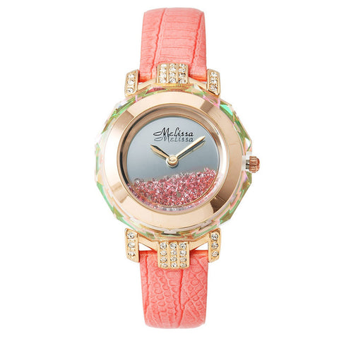 Luxury Melissa Lady Woman Wrist watch Elegant Rhinestone Crystal Fashion Hours Dress Bracelet Rose Gold School Girl Gift 1580