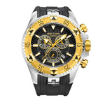 Reef Tiger/RT Men Sports Watches Quartz Watch with Chronograph and Date Big Dial Black Steel Super Luminous Stop Watch RGA303